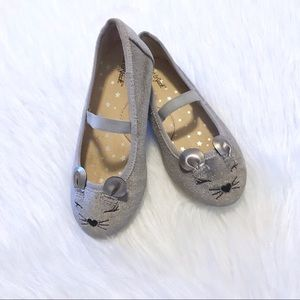 Cat & Jack Silver Mouse Toddler Flats